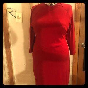 Jones wear sexy red bodycon  midi dress